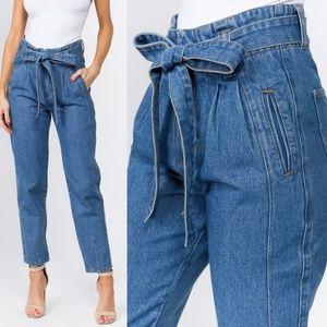 Super High Waisted Mom Paper Bag Jeans MEDIUM WASH